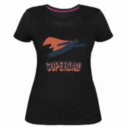Жіноча стрейчева футболка Super dad flies