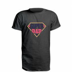 Удлиненная футболка Super dad text