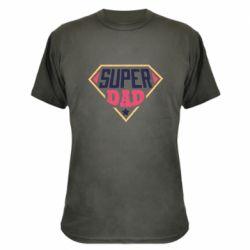 Камуфляжная футболка Super dad text