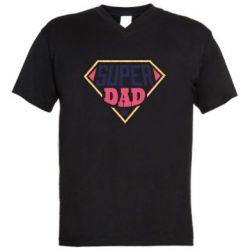 Мужская футболка  с V-образным вырезом Super dad text