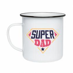 Кружка эмалированная Super dad text