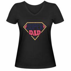 Женская футболка с V-образным вырезом Super dad text