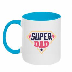 Кружка двухцветная 320ml Super dad text