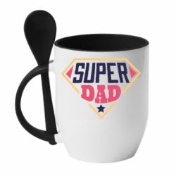 Кружка с керамической ложкой Super dad text