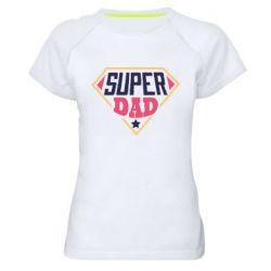 Женская спортивная футболка Super dad text
