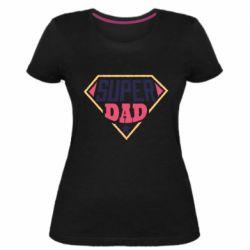 Женская стрейчевая футболка Super dad text
