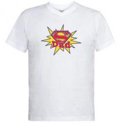 Мужская футболка  с V-образным вырезом Super Dad - FatLine