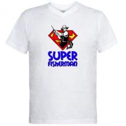 Мужская футболка  с V-образным вырезом Super FisherMan - FatLine