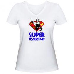 Женская футболка с V-образным вырезом Super FisherMan - FatLine