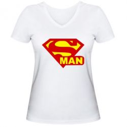 Женская футболка с V-образным вырезом Super Man - FatLine