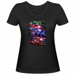 Женская футболка с V-образным вырезом Super power avengers