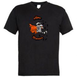 Мужская футболка  с V-образным вырезом Super raccoon