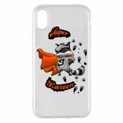Чехол для iPhone X/Xs Super raccoon