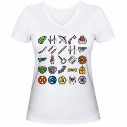 Жіноча футболка з V-подібним вирізом Superhero Icon Set