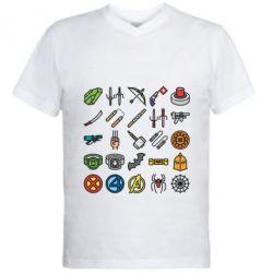 Чоловіча футболка з V-подібним вирізом Superhero Icon Set