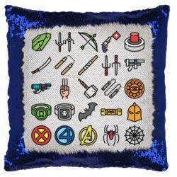 Подушка-хамелеон Superhero Icon Set