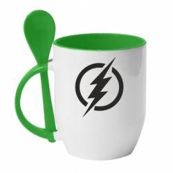 Кружка з керамічною ложкою Superhero logo