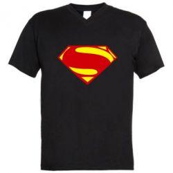 Мужская футболка  с V-образным вырезом Superman Человек из стали - FatLine