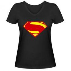 Женская футболка с V-образным вырезом Superman Человек из стали - FatLine