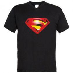 Мужская футболка  с V-образным вырезом Superman Emblem - FatLine
