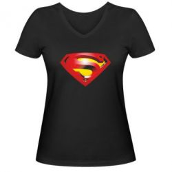 Женская футболка с V-образным вырезом Superman Emblem - FatLine