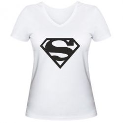Женская футболка с V-образным вырезом Superman одноцветный