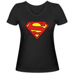 Женская футболка с V-образным вырезом Superman Symbol - FatLine