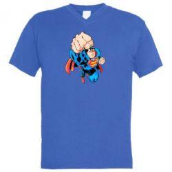 Мужская футболка  с V-образным вырезом Супермен Комикс - FatLine