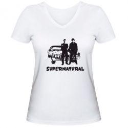 Женская футболка с V-образным вырезом Supernatural Братья Винчестеры - FatLine