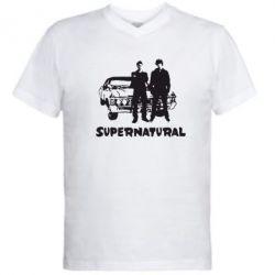 Мужская футболка  с V-образным вырезом Supernatural Братья Винчестеры - FatLine