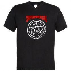 Мужская футболка  с V-образным вырезом Supernatural круг - FatLine