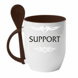 Кружка с керамической ложкой Support