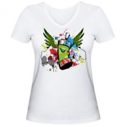 Женская футболка с V-образным вырезом Суровый баллончик)