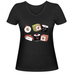 Жіноча футболка з V-подібним вирізом Sushi