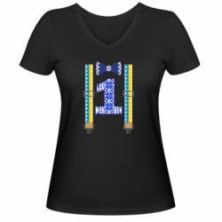 Женская футболка с V-образным вырезом Первоклассник