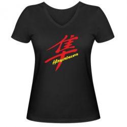 Женская футболка с V-образным вырезом Suzuki Hayabusa - FatLine