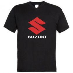 Мужская футболка  с V-образным вырезом Suzuki - FatLine