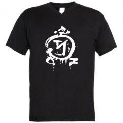 Мужская футболка  с V-образным вырезом Сверхъестественное логотип - FatLine