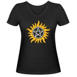 Женская футболка с V-образным вырезом Сверхъестественное Star - FatLine