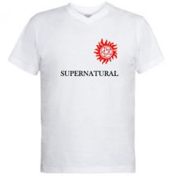 Мужская футболка  с V-образным вырезом Сверхъестественное звезда - FatLine