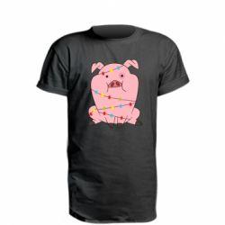 Подовжена футболка Свиня обмотана гірляндою
