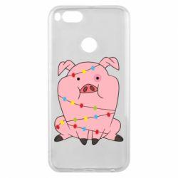 Чехол для Xiaomi Mi A1 Свинья обмотанная гирляндой