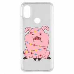 Чехол для Xiaomi Mi A2 Свинья обмотанная гирляндой
