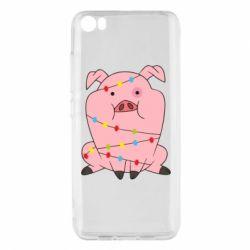 Чехол для Xiaomi Mi5/Mi5 Pro Свинья обмотанная гирляндой