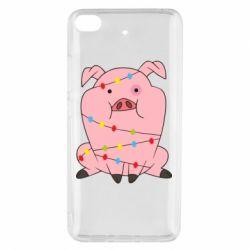 Чехол для Xiaomi Mi 5s Свинья обмотанная гирляндой