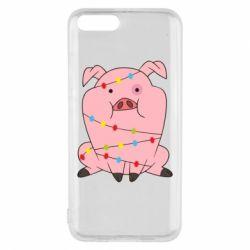 Чехол для Xiaomi Mi6 Свинья обмотанная гирляндой