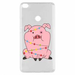 Чехол для Xiaomi Mi Max 2 Свинья обмотанная гирляндой