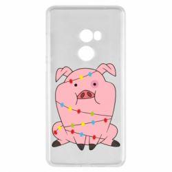 Чехол для Xiaomi Mi Mix 2 Свинья обмотанная гирляндой