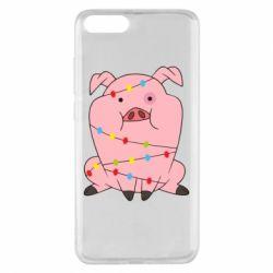 Чехол для Xiaomi Mi Note 3 Свинья обмотанная гирляндой