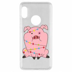 Чехол для Xiaomi Redmi Note 5 Свинья обмотанная гирляндой